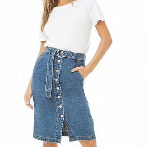 Forever 21 Denim Button Front Skirt